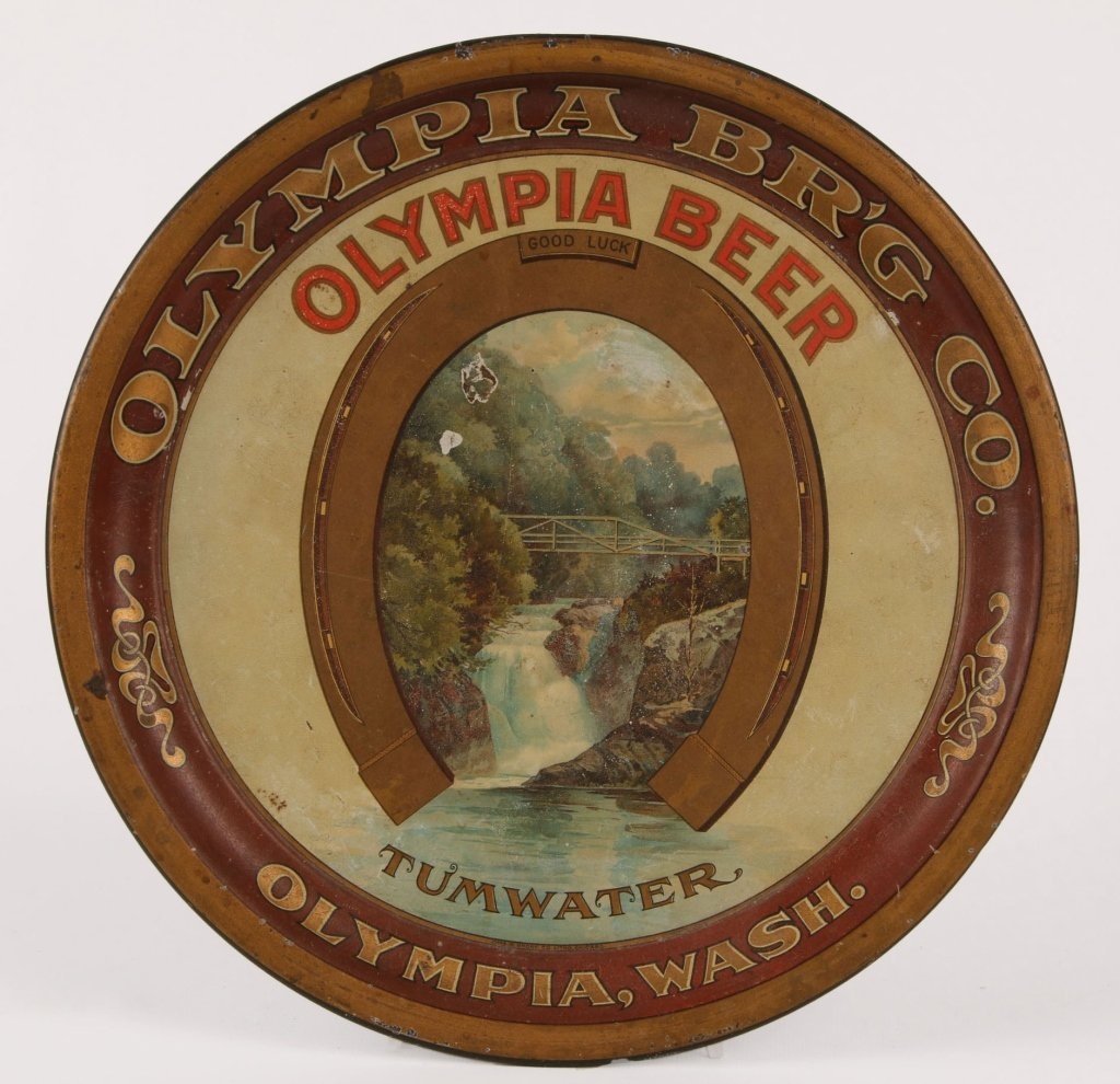 PRE-PROHIBITION OLYMPIA BEER TIN LITHO TRAY
