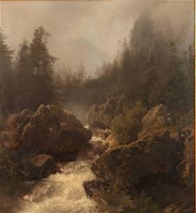 HERMANN HERZOG (1832-1932) OIL ON PANEL