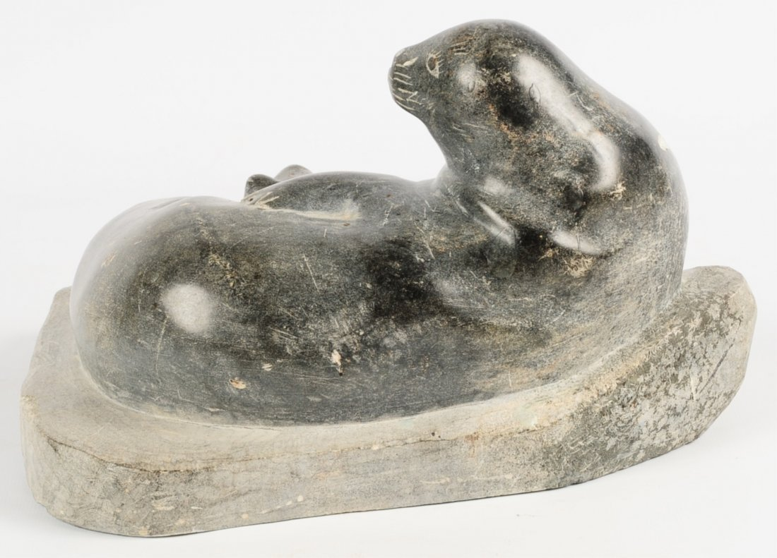 AN INUIT SOAPSTONE SCULPTURE OF SEAL RESTING ON ROCK - 3