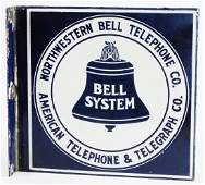 RARE NORTHWESTERN BELL TELEPHONE PORCELAIN FLANGE SIGN