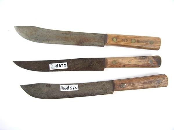 570: THREE SHAPLEIGH'S OLD HICKORY BUTCHER KNIVES