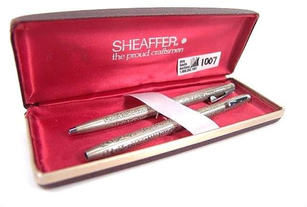 1007: SHEAFFER STERLING SILVER PEN AND PENCIL SET IN BO