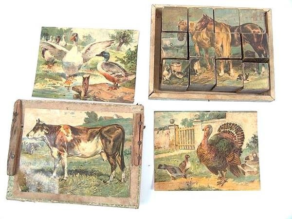 2501: VICTORIAN SET OF LITHO ON WOOD PICTURE BLOCKS