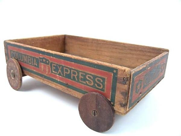 2502: COLUMBIA EXPRESS CHILDS WOODEN WAGON