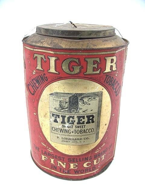 2504: TIGER CHEWING TOBACCO ADVERTISING TIN CANNISTER