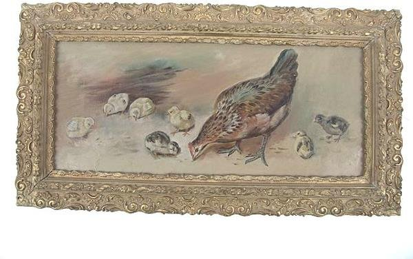 2505A: AMERICAN PRIMITIVE OIL CANVAS OF HENS & CHICKS