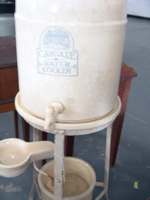 2658: 1920'S CASCADE WATER COOLER ON METAL STAND