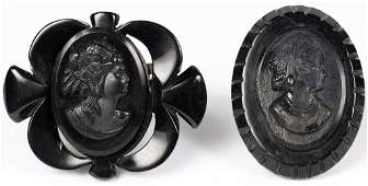 TWO VICTORIAN MOURNING BROOCHES