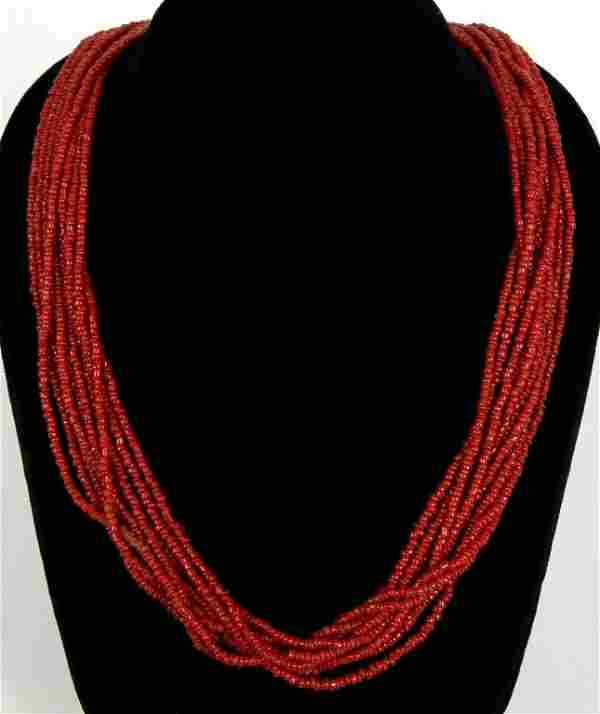 TEN STRAND RED CORAL BEAD NECKLACE