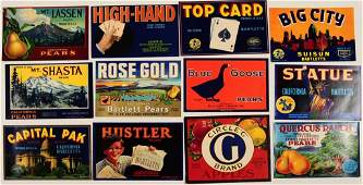 SEVENTY-FOUR NEW OLD STOCK VINTAGE CRATE LABELS 1940s