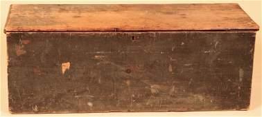 19TH C. AMERICAN SIX BOARD PAINTED PINE BLANKET BOX