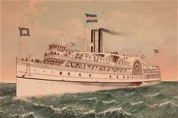 LRG CURRIER  IVES PROVIDENCE STEAM SHIP RHODE ISLAND