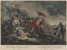 1808 ENGRAVING BATTLE OF...LA BATAILLE DE BUNKER'S HILL