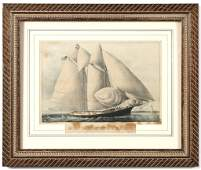 19TH C CURRIER  IVES THE YACHT SAPPHO OF NY 210