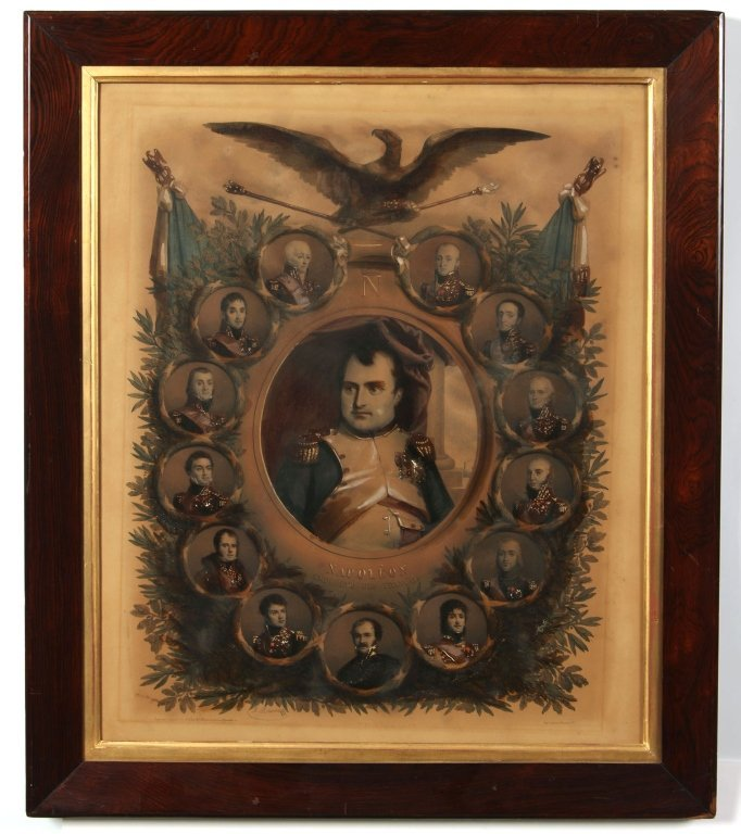 EARLY 19TH C. FRENCH LITHOGRAPH OF NAPOLEON & GENERALS