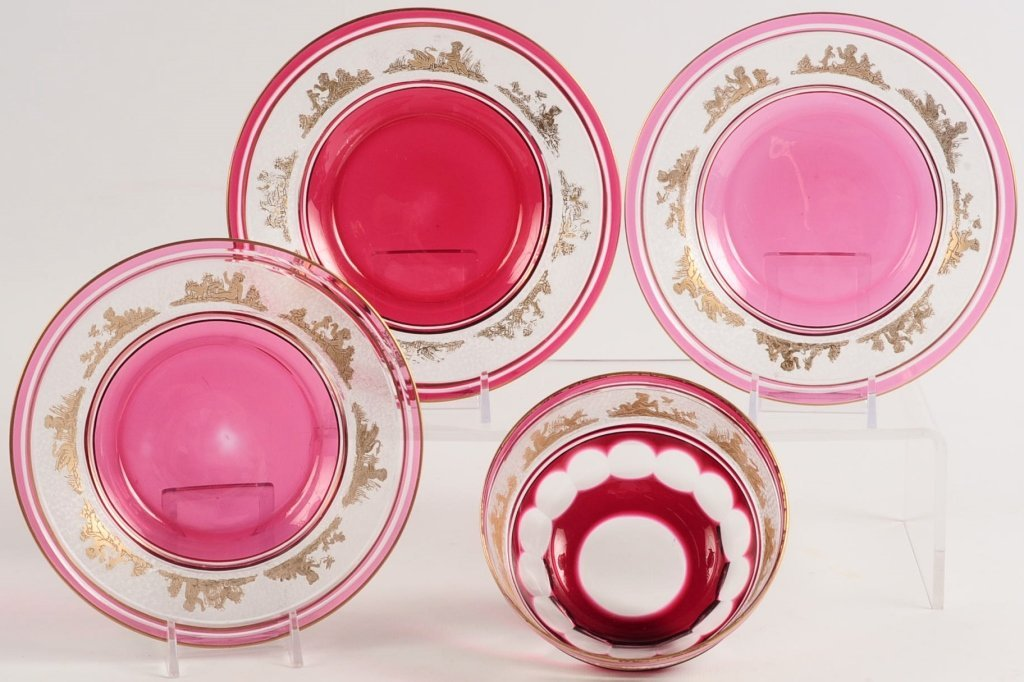 FRENCH ETCHED CRYSTAL FINGER BOWL AND UNDERPLATES