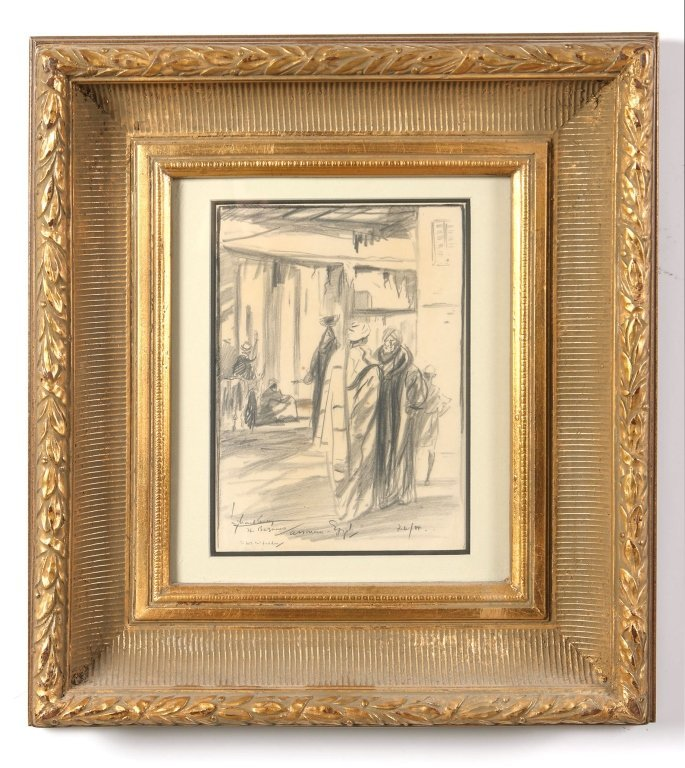 GRAPHITE ON PAPER DEPICTION OF AN EGYPTIAN BAZAAR