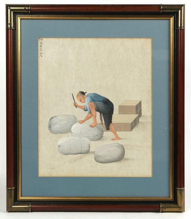 GOUACHE ON PAPER OF AN ASIAN MAN TYING BUNDLES
