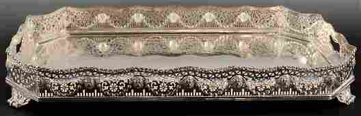 EXCEPTIONAL SILVERPLATED FOOTED GALLERY TRAY WITH LION