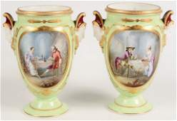 PAIR CONTINENTAL PORCELAIN HAND PAINTED URNS