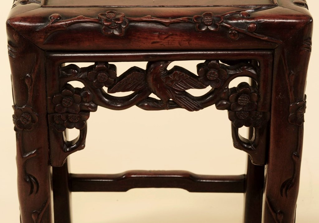 TWO ANTIQUE CHINESE CARVED ROSEWOOD NESTING TABLES - 10