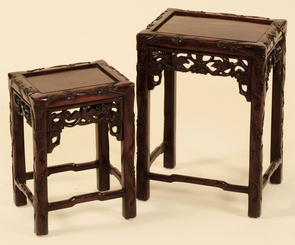 TWO ANTIQUE CHINESE CARVED ROSEWOOD NESTING TABLES
