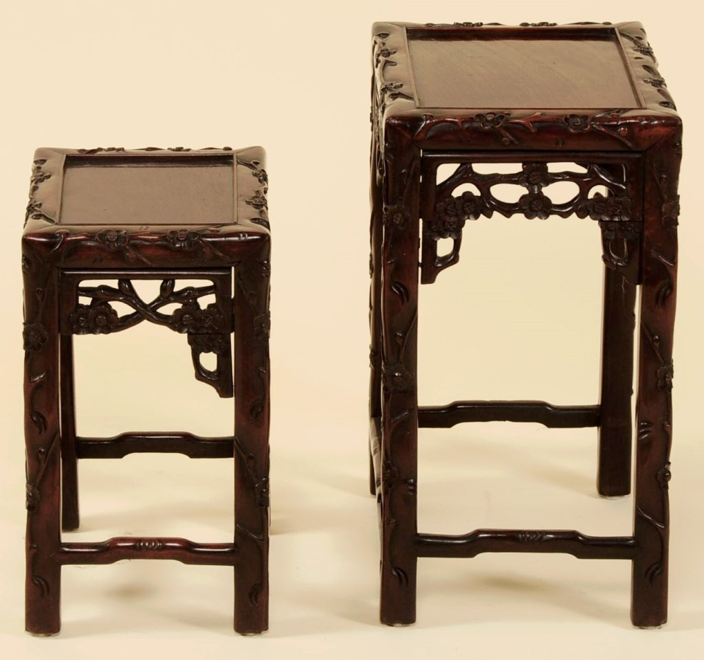 TWO ANTIQUE CHINESE CARVED ROSEWOOD NESTING TABLES - 2