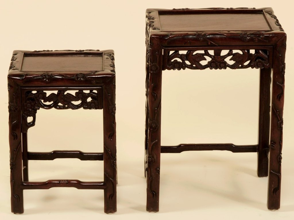 TWO ANTIQUE CHINESE CARVED ROSEWOOD NESTING TABLES - 3