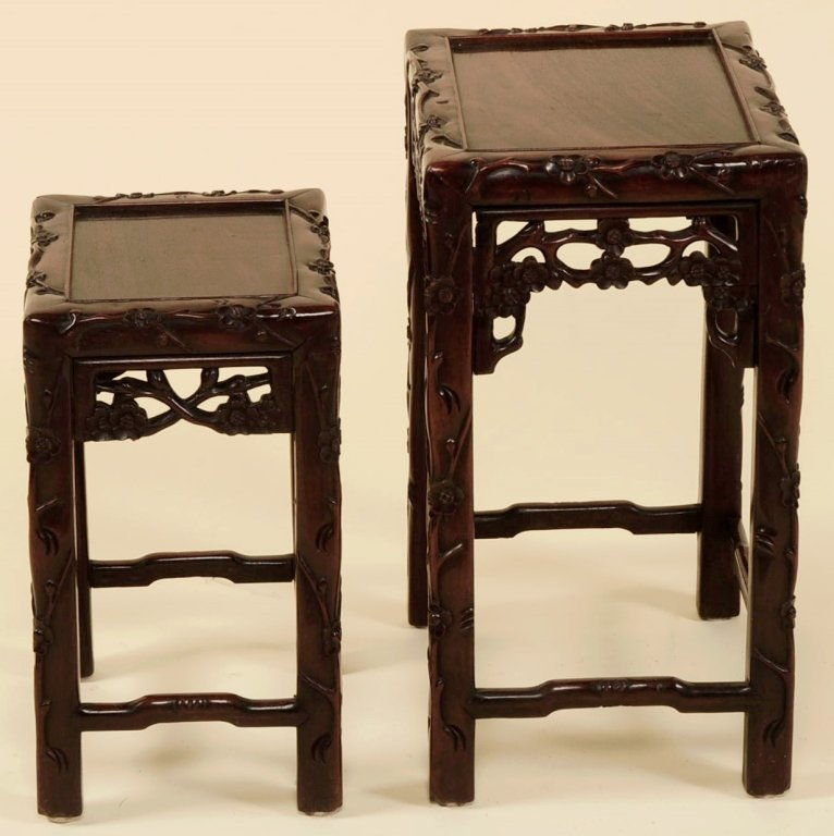 TWO ANTIQUE CHINESE CARVED ROSEWOOD NESTING TABLES - 4