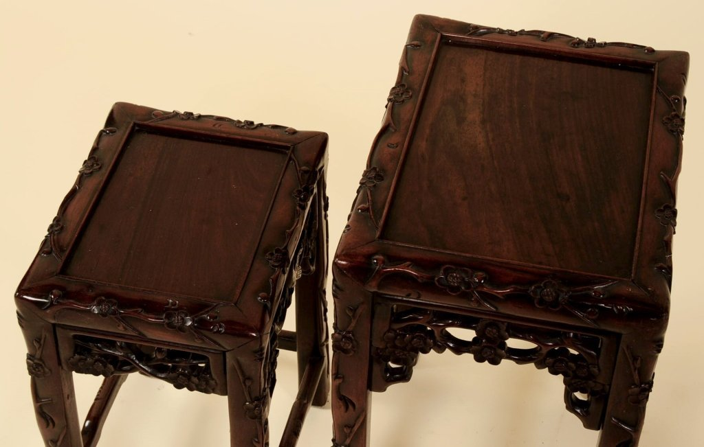 TWO ANTIQUE CHINESE CARVED ROSEWOOD NESTING TABLES - 5