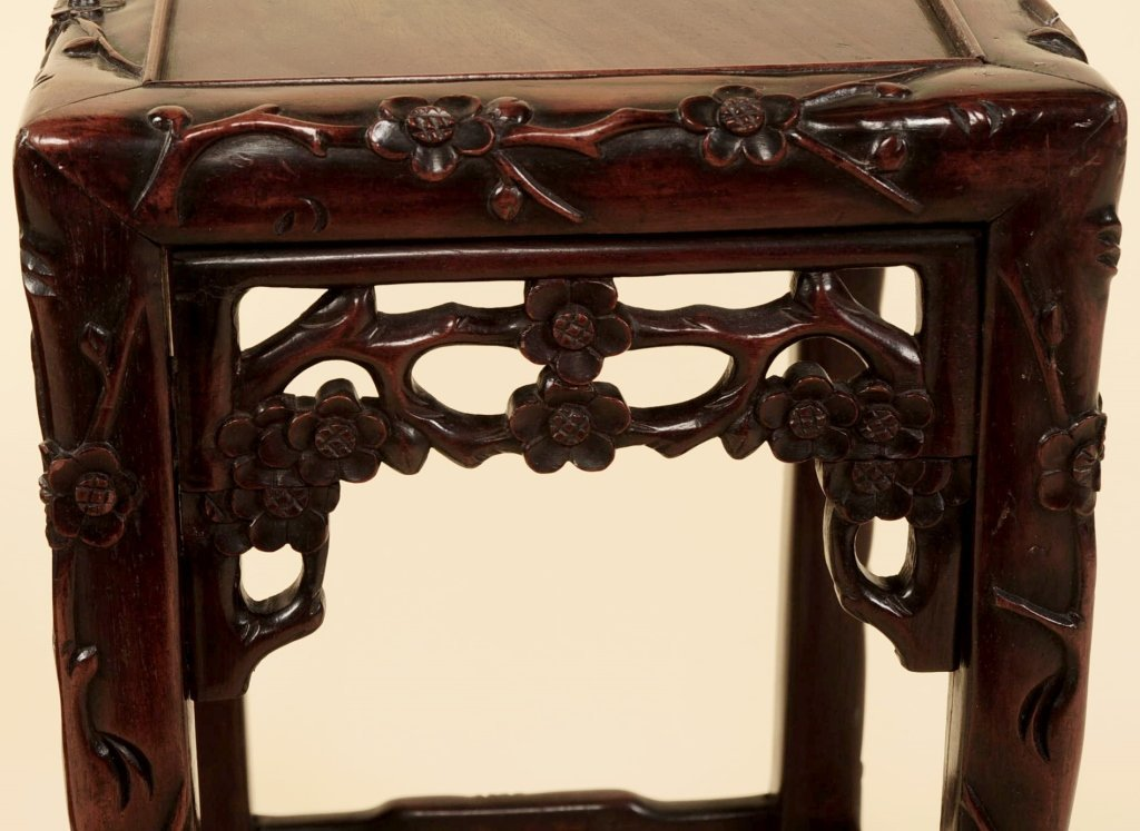 TWO ANTIQUE CHINESE CARVED ROSEWOOD NESTING TABLES - 6