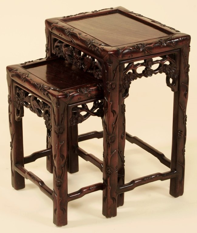 TWO ANTIQUE CHINESE CARVED ROSEWOOD NESTING TABLES - 7