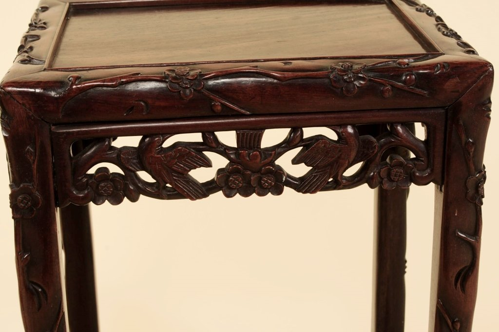 TWO ANTIQUE CHINESE CARVED ROSEWOOD NESTING TABLES - 8
