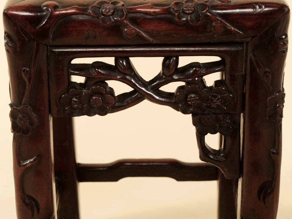 TWO ANTIQUE CHINESE CARVED ROSEWOOD NESTING TABLES - 9