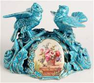 19TH C. SEVRES WATCH HOLDER WITH BIRDS
