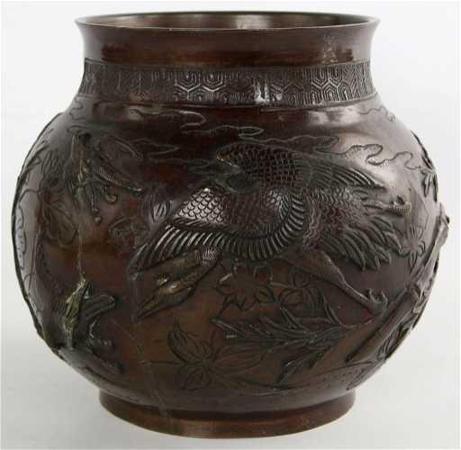 A Japanese Meiji Bronze Vase Signed Yoshida Seikyo