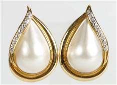 DIAMOND AND MABE PEARL 14K YELLOW GOLD EARRINGS