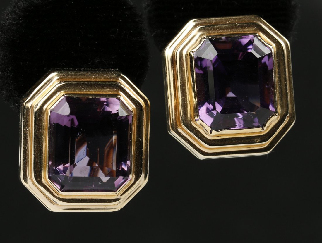 PAIR 14 KT GOLD AMETHYST COLORED GEMSTONE EARRINGS