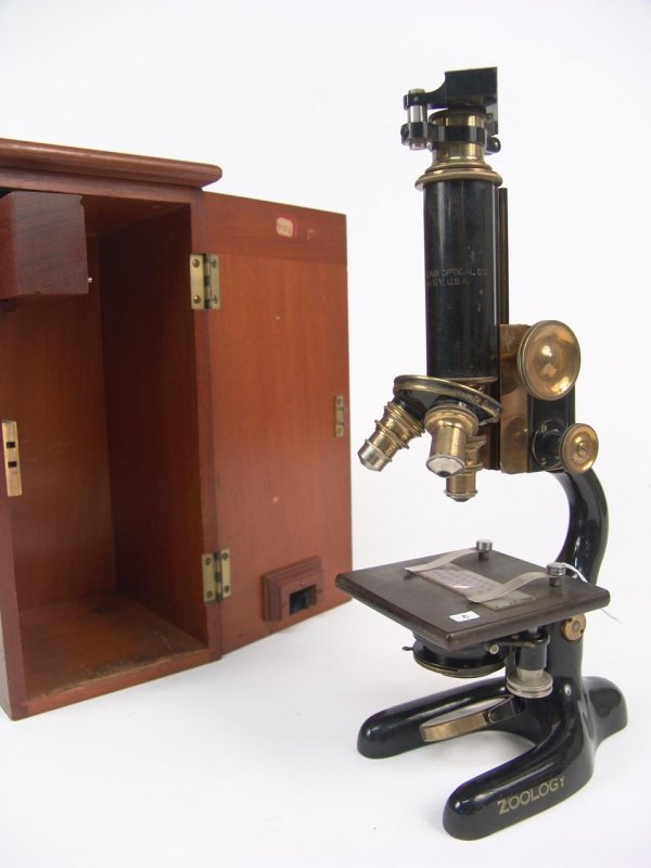 1: BAUSCH & LOMB ANTIQUE MICROSCOPE W/3 OBJECTIVES