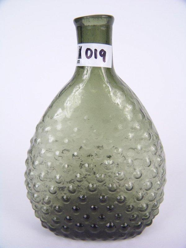 19: EARLY AMERICAN HOBNAIL MOLD BLOWN FLASK