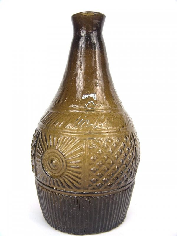 21: EARLY BLOWN MOLDED BOTTLE IN RARE OLIVE COLOR