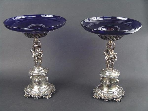 734: FABULOUS PAIR OF ENGLISH STERLING SILVER TAZZA W/P