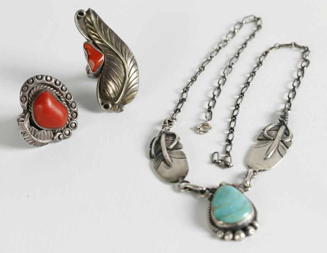 THREE PIECES OF NATIVE AMERICAN STERLING JEWELRY