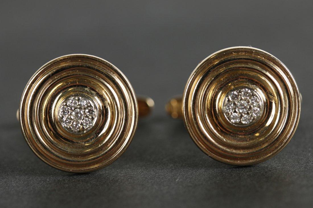 PAIR VINTAGE 14 KT GOLD AND DIAMOND CUFFLINKS