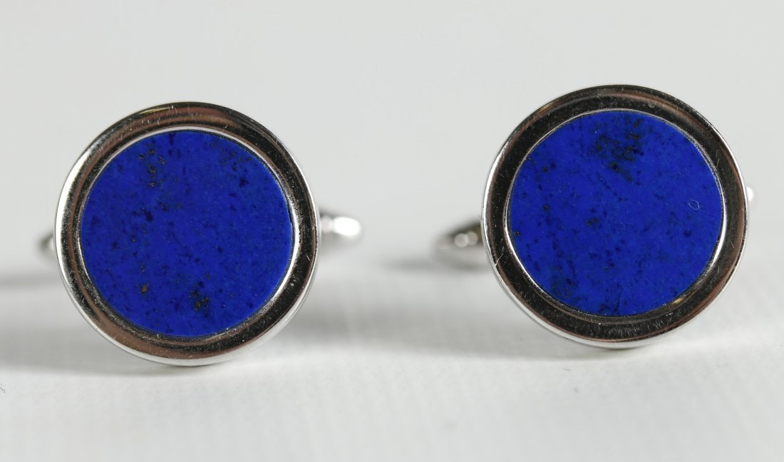 VINTAGE 14 KT WHITE GOLD CUFFLINKS WITH LAPIS