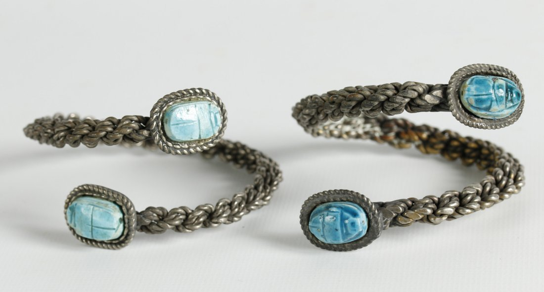 PAIR OF STERLING BRACELETS WITH SCARABS