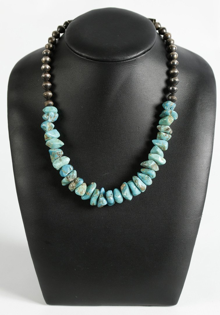 SANTO DOMINGO TURQUOISE NUGGET, STERLING BEAD NECKLACE
