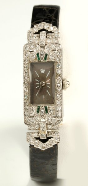An Art Deco Platinum Ladies' Diamond & Emerald Watch
