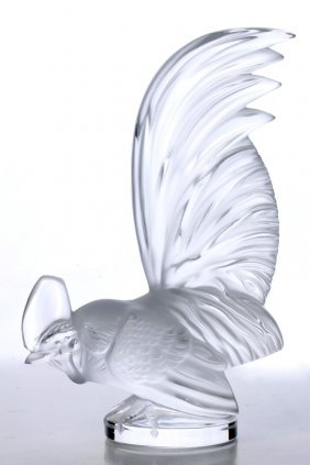 A Lalique French Crystal 'coq Nain' Rooster