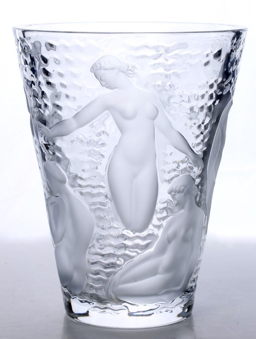 A LALIQUE FRENCH CRYSTAL 'ONDINES' VASE WITH NUDES